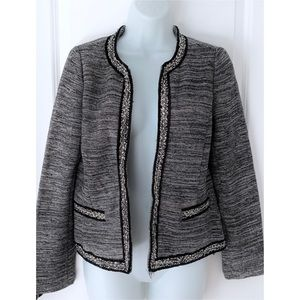 Talbots Open Front Black Tweed Blazer Jacket